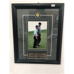 CUSTOM FRAMED 12 X 18 TIGER WOODS/ MIKE WEIR DISPLAY