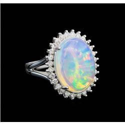 9.05 ctw Opal and Diamond Ring - 14KT White Gold