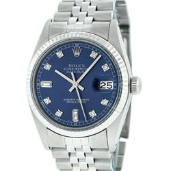 Rolex Mens Stainless Blue Diamond 36MM Datejust Wristwatch