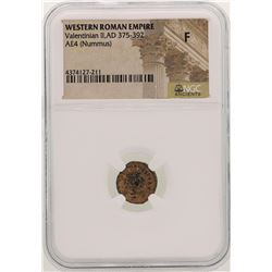 Valentinian ll 375-392 AD Ancient Western Roman Empire  Coin NGC F