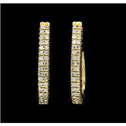 1.00 ctw Diamond Hoop Earrings - 14KT Yellow Gold