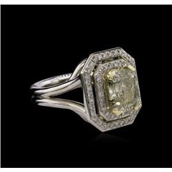 3.36 ctw Fancy Light Greenish Yellow Diamond Ring - 14KT Two-Tone Gold