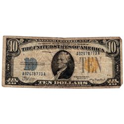 1934A $10 North Africa Emergency WWII Silver Certificate Note