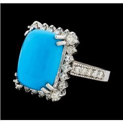 9.30 ctw Turquoise and Diamond Ring - 14KT White Gold