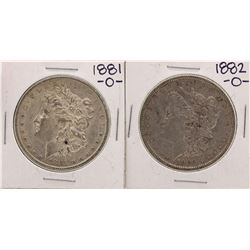 Lot of 1881-O & 1882-O $1 Morgan Silver Dollar Coins