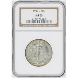 1947-D Walking Liberty Half Dollar Coin NGC MS65
