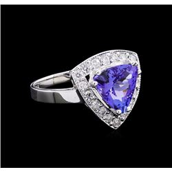 2.52 ctw Tanzanite and Diamond Ring - 14KT White Gold