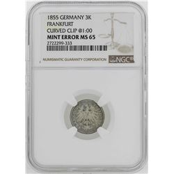 1855 Germany Frankfort 3 Kreuzer Coin Mint ERROR Curved Clip NGC MS65