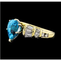 3.26 ctw Blue Zircon and Diamond Ring - 14KT Yellow Gold