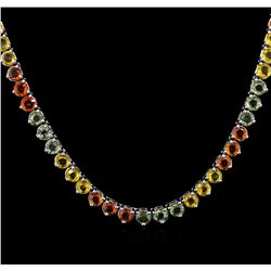 33.56 ctw Multi Color Sapphire Necklace - 14KT White Gold