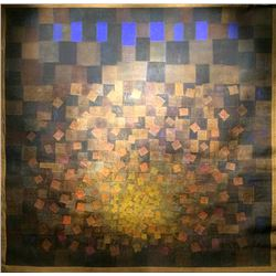 Margo Hoff, Lighted Square, Mixed Media Collage Tapestry