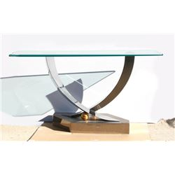 Greg Sheres, Contemporary Glass Table with Stainless Steel base