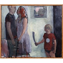 Paly, Parents and Child with Toy Sword, Oil Painting