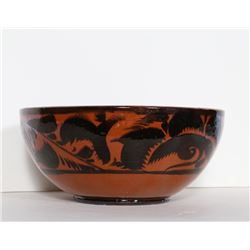Red Bowl with Black Feather Pattern, Ceramic Bowl with Red and Black Glazing