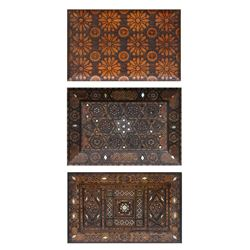 Lot of 3 Hand-Carved Wooden Boxes with Inlay