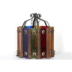 Hanging Multi-Color Lamp Fixture, Colored Glass and Painted Metal