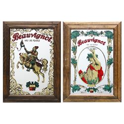 Lot of 2 Beauvignot - Bacchus, Prints on Mirror