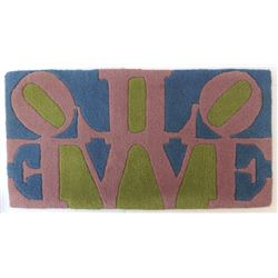 Robert Indiana, Rose LOVE (Reflection), Wool Tufted Rug by Master Artist Rug