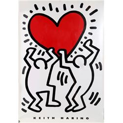 Keith Haring, Men Holding Heart, Estate Lithograph Poster