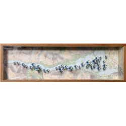 John Dilnot, Over Loch Lomond, Wood Diorama Collage Box with Cutout Birds on Map