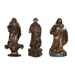 Lot of 3 Religious Figures Hand-Carved and Painted Wood Sculptures