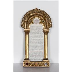 Gloria in excelsis Deo Column, Carved Wood with Paint and Hand-Painted Vellum