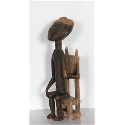 Seated Boy, Hand-Carved African Wood Sculpture
