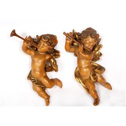 Anri, Two Cherubs, Pair of Painted Carved Wood Wall Decorations