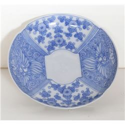 Chinese, Blue Floral Plate, Porcelain Plate