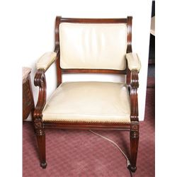 Regency Cream Leather Upholstered Carved Wood Chair