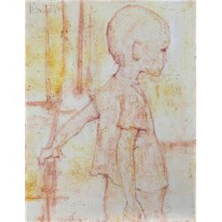 Ademaro Bardelli, Sketch of a Boy, Oil and Pastel Painting