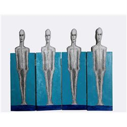 Four Surrealist Figures, Painted Wooden Folding Screen