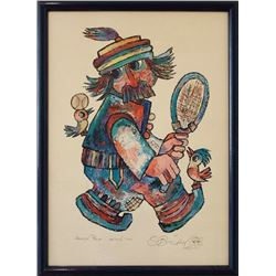 Jovan Obican, Tennis Player II, Offset Lithograph with Pencil sketch
