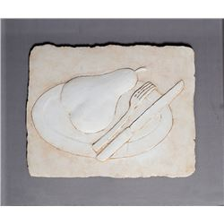 Pear Still Life with Fork and Knife, Ceramic on Board