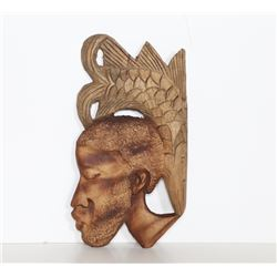 Profile with Fish on Head, Wood Sculpture