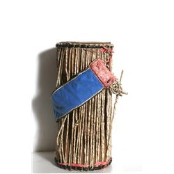 Small Wood Drum with Leather and Rope