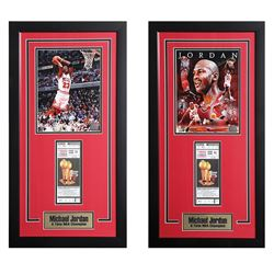 Lot of 2 Michael Jordan NBA Champion Offset Prints with Chicago Bulls Tickets