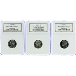Lot of (3) 2000-S Jefferson Nickel Coins NGC PF69 Ultra Cameo