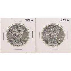 Lot of (2) 2016 $1 American Silver Eagle Coins