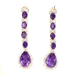Natural Top Intense Purple Amethyst Earrings
