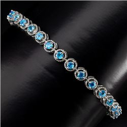Natural  Aaa Neon Blue Apatite Bracelet