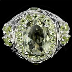 NATURAL GREEN Tea AMETHYST & GREEN PERIDOT Ring