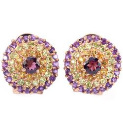 NATURAL RH-GARNET AMETHYST PERIDOT  CITRINE Earrings