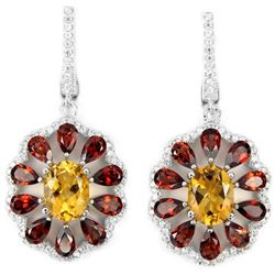NATURAL ORANGISH YELLOW CITRINE, GARNET Earrings