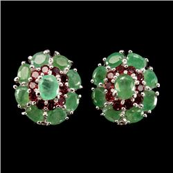 Natural Green Emerald & Rhodolite Garnet Earrings
