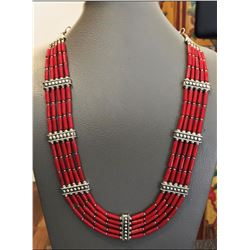 Tibet Natural Stone Tribal Queen Coral Royal Necklace