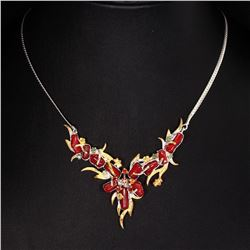 Handmade Natural Red Coral Emerald Sapphire Necklace