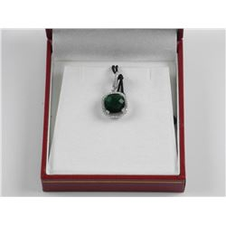 925 Silver Pendant, Emerald Green, Cushion Cut Swa