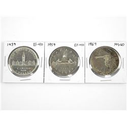 Lot (3) CAD Silver Dollars - 1939 EF40, 1959 EF40,