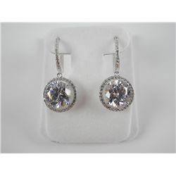 925 Silver 2 Tier Drop Earrings with Swarovski Ele